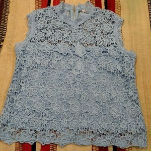 Blue Lace Short Sleeved Top Tank